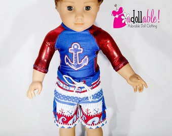 American made Boy Doll Clothes, 18 inch Boy Doll Clothing, Anchor Rashguard with Board shorts made to fit like American girl doll clothes