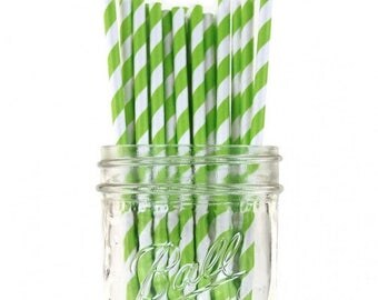 Paper Straws | Green Striped Paper Straws | Green & White Striped Straws | Eco friendly | Biodegradable | Party Supplies | The Party Darling