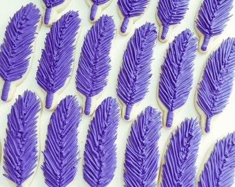 One Dozen Feather Sugar Cookies - Sugar Cookies - Custom Cookies