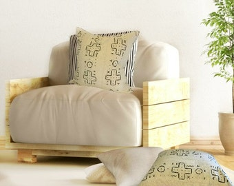 Mudcloth Pillow Cover, Authentic Black and White Mud Cloth Pillow,