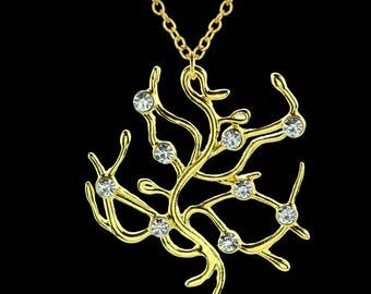 Live action belle rose tree necklace