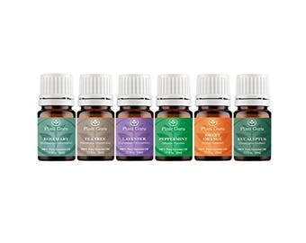 Top 6 Essential Oil Set Kit Variety 100% Pure Therapeutic Grade 5 ml. Includes Peppermint, Lavender, Orange, Rosemary, Eucalyptus, Tea Tree