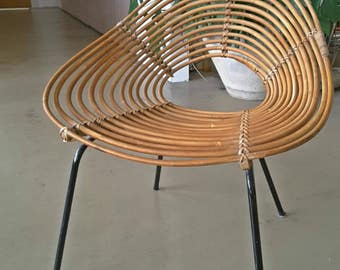 Iconic Wicker chair Original 50's Dirk van Sliedrecht Mid-century modernist MCM cane