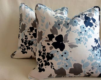 Set of Contemporary Floral Designer Pillow Covers - Blue/ White - Custom Piping - 2pc Set -  20x20 Covers
