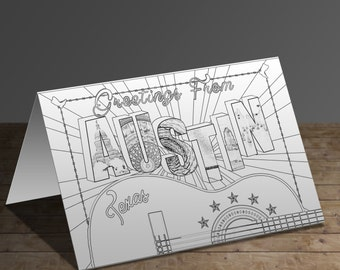 Greetings From Austin Texas Printable Coloring Card