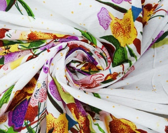 """Dressmaking Fabric Cotton Fabric For Sewing Designer 41"""" Width Floral White Cotton Fabric Print Voile Quilt Sew Sofa Cover By 1 Yard ZBC3681"""