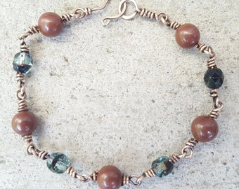 Clay and Glass Bead Bracelet, Bronze Wire Wrapped Bracelet, Clay Bead Bronze Bracelet, Glass Bead Bronze Bracelet, Blue and Brown Beaded