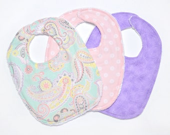 Baby girl bibs - Paisley - Baby Bibs - pink and blue