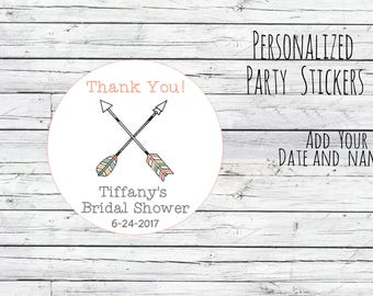 Custom Personalized Boho Arrows Thank You Bridal Shower Stickers, Favor Tags, Labels, Wedding Labels, Wedding Favour Stickers,