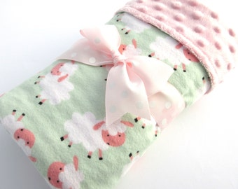 Baby Stroller Blanket - Lamb Baby Blanket -Baby Girl Blanket - White and Pink Lambs on Green Background -Cotton Flannel Blanket - Pink Minky