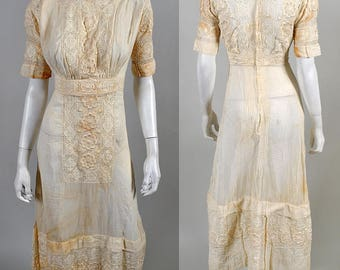 Vintage Edwardian Titanic Era Antique White Lace Dress  S4
