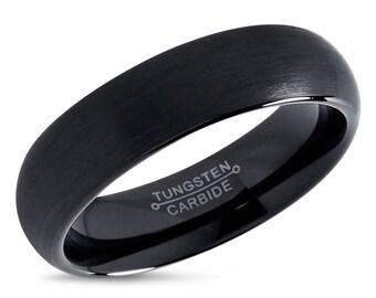 Tungsten Ring Mens Black Wedding Band Carbide 2mm 4mm 6mm 8mm