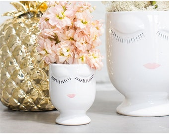 Face planter, head planter, bridal shower gift, face vase, mother, housewarming gift, bridesmaid gift, Birthday gift, bud vase