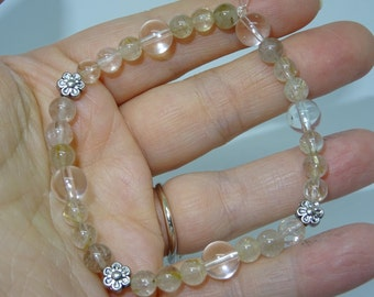 Rutile and rock crystal quartz bracelet