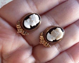 Vintage Onyx Cameo Earrings 12kt GF Van Dell