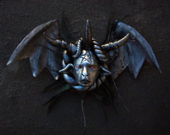 Miniature Baphomet bat head ooak handmade sculpture