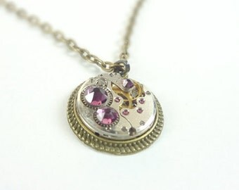 Steampunk Necklace With Stunning Purple Crystals