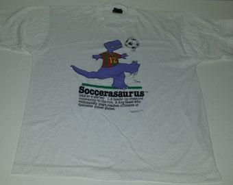 Vintage  80's Soccerasaurus graphic Dinosaur tshirt size XL