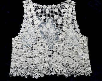Vintage Cream Cotton Lace Bolero / Waistcoat  Size XS  Fairy Boho