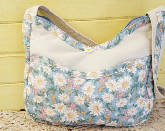 Floral Hobo Bag/Daisy Shoulder Bag/Handmade Hobo Bag/Fabric Hobo Bag/Floral Shoulder Bag/Daisy Hobo Bag/USA Made/Cottage Chic Bag/Fabric Bag