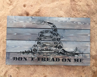 Carved Don't Tread On Me Rustic Wooden Sign, patriotic, Gadsden Flag