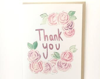 rose thank you, watercolor flower card, floral notecard, hand lettered thank you card for her, pink thank you note, blank floral card