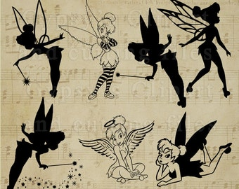 Tinkerbell, Tinkerbell Cut Files, Tinkerbell Silhouettes Templates, Clipart, Disney, Cutting file, Overlay, vinyl. png, svg,ai,eps, dxf