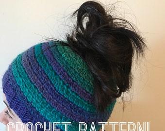 Crazy Bun Beanie PATTERN-Crochet hat pattern- Crochet Bun hat- Messy Bun Crochet Pattern-crochet bun hat- bun beanie-ponytail hat