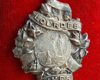 Vintage French Blessed Mother Mary Medal Blessed Virgin Our Lady of Lourdes Religious Catholic Jewelry Art Nouveau