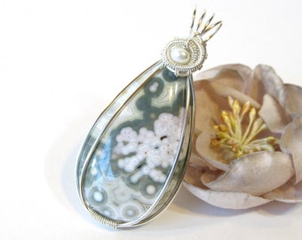 Fine Silver Ocean Jasper Pendant, Wire Wrapped Pendant with Freshwater Pearl and Pastel Color Orbicular Ocean Jasper, Handmade Necklace