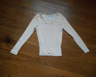 vintage nordstrom exclusive formed peach made in england high waist perforated womens long sleeve cotton under shirt