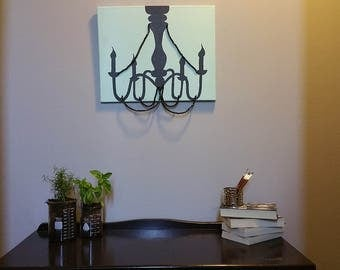 Chandelier silhouette painting-breakfast at Tiffany's inspired-chandelier art