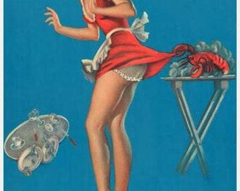 Pin-Up Girl Waitress Lobster Pinch Rare Vintage Poster