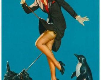 Pin-Up Girl Walking Dog Rare Vintage Poster