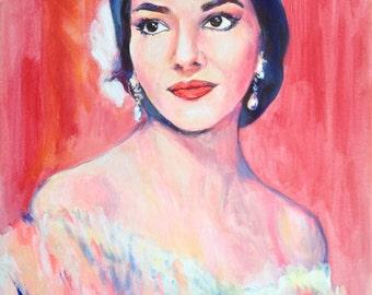 Maria Callas Original Acrylic Painting, Fine Art Painting, Modern Painting, Contemporary Portraiture, Original Artwork,  Great Opera Singer