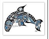 "Haida Killer Whale, Tlingit Orca Art Print,Pacific Northwest Coast, Native American, First Nations Art - ""Pacific Dream"" 11x14 in BLUE"