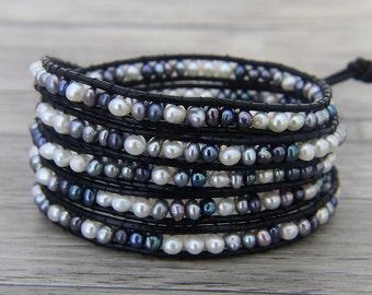 5 wraps bracelet Freshwater Pearl wrap bracelet Real pearl bracelet BOHO Leather wrap bracelet YOGA Bead wrap bracelet Pearl Jewelry SL-0465