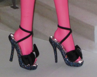 Monster High shoes TUXEDO high heel shoes for 17 inch Monster High, 17 inch Ever After High, Mattel doll shoes, high heel doll shoes