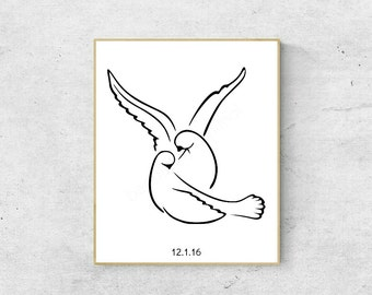 Personalized Love Birds Art Print 8 x 10   Wedding Date, Anniversary Date