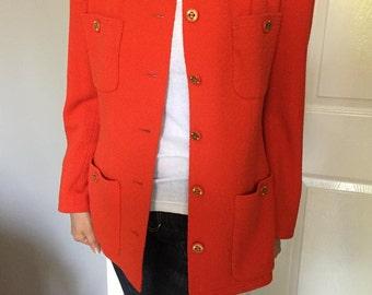 Vintage Chanel Boucle Orange Jacket