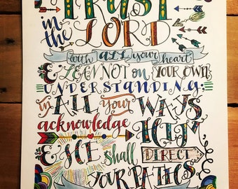 Bible verse print - hand drawn, Proverbs 3:5-6, Trust In The Lord