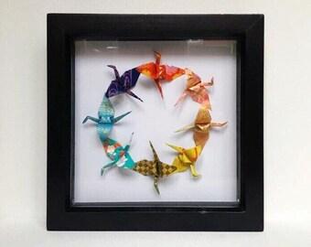 Origami Crane Wall Art, Origami Crane, Origami Wall Art, Origami Art, Origami Paper Art, Origami Decor, Origami Gift, Japanese Gift