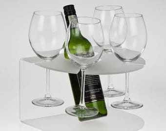 Wine Bottle and Glass Holder | Wine Glass and Bottle Display | Glass Holder | Made from Premium Perspex Acrylic | Made in the UK