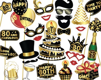 80th Birthday Photo Booth Props DIY / Eightieth Birthday Party Photobooth Props / Colorful Black and Gold / Printable PDF ▷ Instant Download