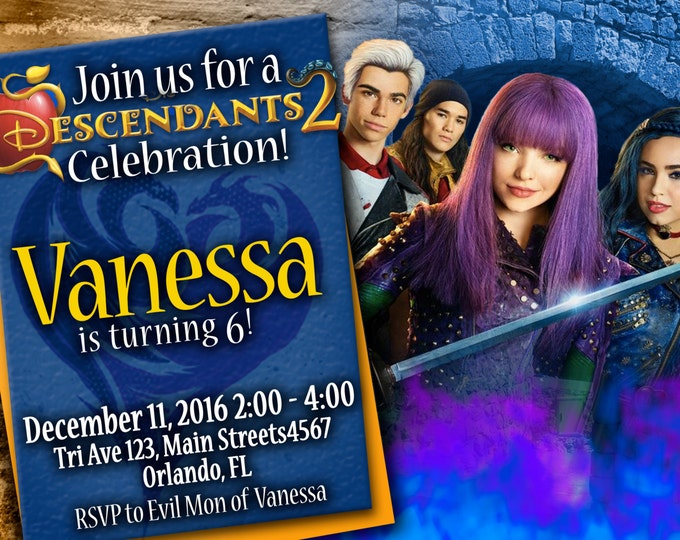 Birthday Invitation Disney Descendants 2