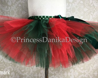 Striped Red and Hunter Green Tutu, Classic Christmas Tutu, Poinsettia Tutu, Ugly Christmas Sweater Tutu, Infant Tutu, Adult Tutu, Race Tutu