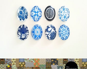 Blue & White Glass Cabochon Fridge Magnet Set