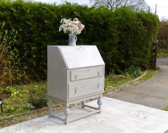 NOW SOLD***Gorgeous, Vintage Bureau/Computer Desk. Shabby Chic, Paris Grey.