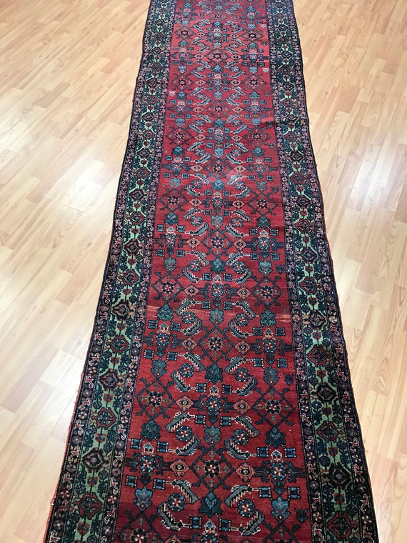 "2'7"" x 27'9"" Antique Persian Angeles Floor Runner Oriental Rug - 1920s - Hand Made - 100% Wool"