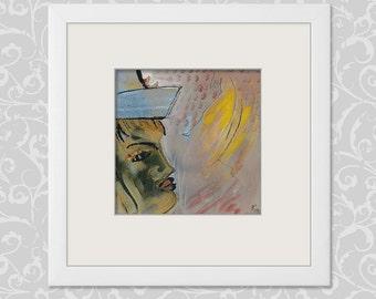 Original paintings 20/20 cm original portrait painting modern